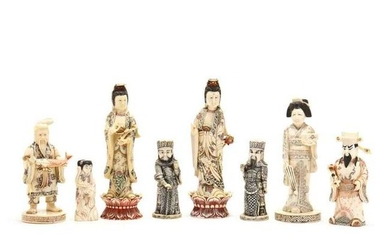 Eight Chinese Carved Bone Figures