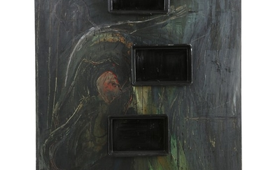 """Erik A. Frandsen: """"Du får 2500 ..."""", 1988. Unsigned. Tiled and dated on an exhibition label on the reverse. Oil on canvas with plastic trays. 200×163 x 11 cm."""