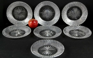 FINE CUT CRYSTAL LUNCHEON PLATE GROUPING OF SEVEN