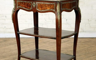 FRENCH BRONZE MOUNTED INLAID OCCASIONAL TABLE