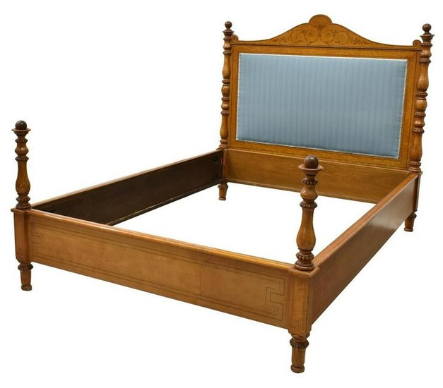 FRENCH RESTORATION STYLE ROSEWOOD & MAPLE BED