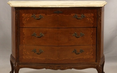 FRENCH STYLE MARBLE TOP FRUITWOOD AND SATINWOOD CHEST WITH DESK 36 45