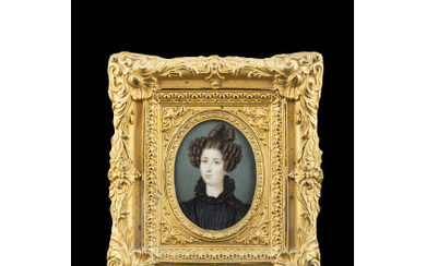 "F.Roncalli (?)(19th-century) ""Portrait of a gentlewoman"" oval miniature on ivory..."