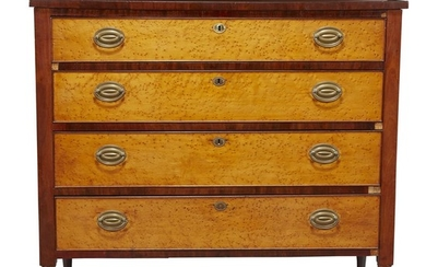 Federal burl maple and mahogany chest of drawers New...