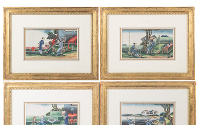 Four Chinese Export Silk Industry Gouaches