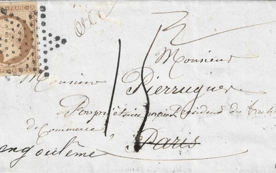 "France 1852 - ""Présidence"" 10 centimes bistre brown on a postage due letter rate from Paris bound for the - Yvert 9a"