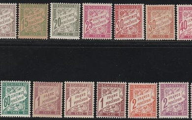 France 1893 - Postage-due stamps, complete set, rare and certified - Unificato NN.28/42 + 40A + 42A