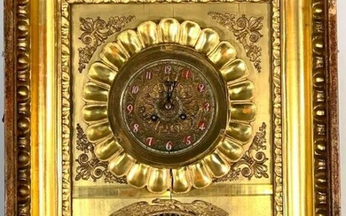 French Empire Wall Clock in Gilded Frame, Japy Feres &