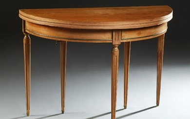 French Louis XVI Style Demilune Carved Mahogany