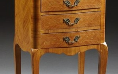 French Marquetry Inlaid Mahogany Nightstand, 20th c.