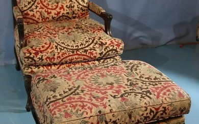 French walnut parlor chair with matching ottoman