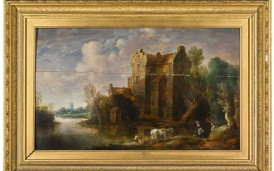 GILLIS PEETERS THE ELDER | A RIVER LANDSCAPE WITH FIGURES AND CATTLE BEFORE A FORTIFIED HOUSE
