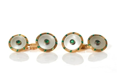 GOLD AND EMERALD CUFFLINKS, 9g
