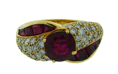 GRAFF Ruby AGL Report Diamond Yellow Gold RING Stunning
