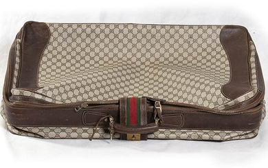 GUCCI CANVAS AND LEATHER SUITCASE 70s Canvas and leather suitcase...
