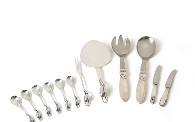 """Georg Jensen, Johan Rohde, Gundorph Albertus: """"Blossom"""", """"Acorn"""", """"Beaded"""" and """"Cactus"""". Sterling silver cutlery and serving pieces. (12)"""