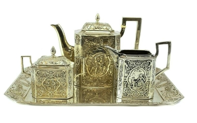 German Hand Chased Angkor .900 Silver Tea Service Set