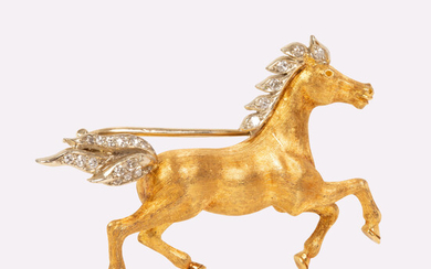 Gold Pin Set with Diamonds - 'Horse in Motion'