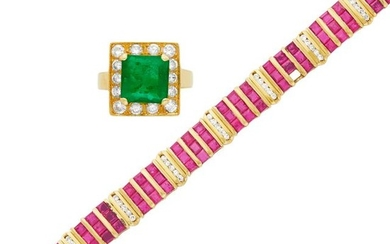 Gold, Ruby and Diamond Bracelet and Emerald and Diamond Ring