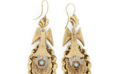 Gold earrings with turquoise, 19thC