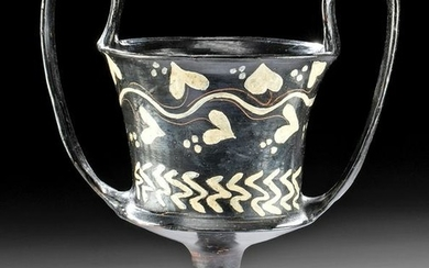 Greek Boeotian Black Glazed Kantharos - Ivy Motif