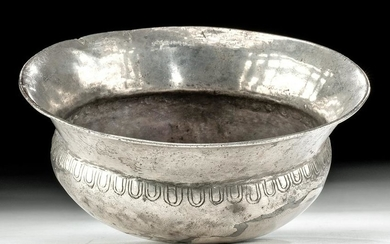 Greek Hellenistic Silver Libation Bowl w/ Omphalos