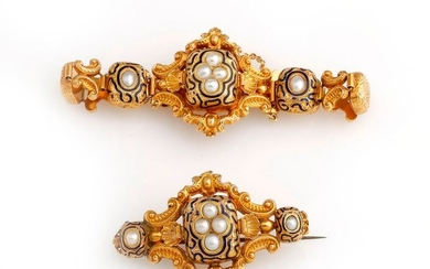 Half set in 18K (750/°°) yellow gold, composed...