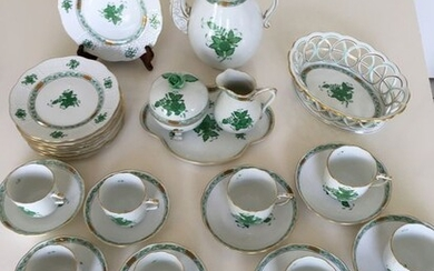 Herend - Apponyi green coffee cake set (29) - Porcelain