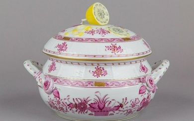 Herend Indian Basket Raspberry Large Soup Tureen with