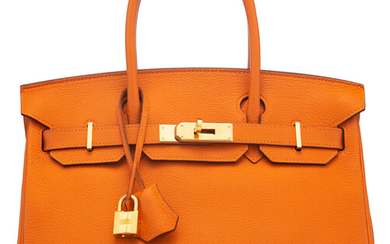Hermès 30cm Feu Togo Leather Birkin Bag with Gold...