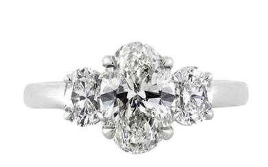 Ideal cut ovals 3 stone ring with Gia Diamonds - 18 kt. White gold - Earrings - 1.49 ct Diamond - Diamonds