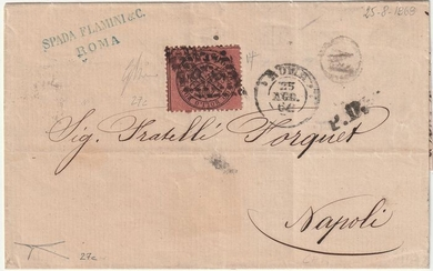 Italian Ancient States - Papal State 1868 - 20 cents pink brown with sheet margin on letter from Rome to Naples - Sassone N. 27c