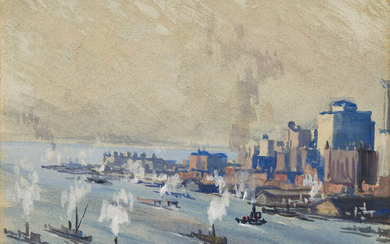 JOSEPH PENNELL Lower Manhattan and New York Harbor