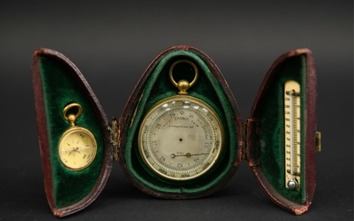 LATE VICTORIAN CASED 3-PIECE WEATHER INSTRUMENTS