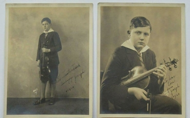 LOT of 2, 1927 CHILD VIOLINIST w VIOLIN signed