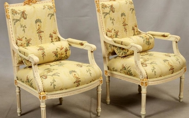 "LOUIS XVI STYLE, OPEN ARM CHAIRS, H 37"", W 24"""