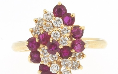 Ladies' Gold, Ruby and Diamond Cluster Ring