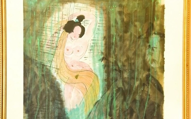 Large Signed Chinese Painting of a Nude Female