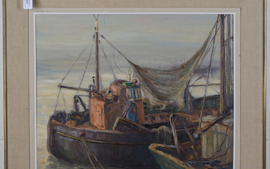 Louis Montaigu - Harbour Scene with Moored Trawlers, 20th century oil on panel, signed, 48cm x 59cm