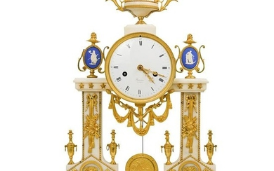 Louis XVI Gilt Bronze and Mounted Marble Portico Clock