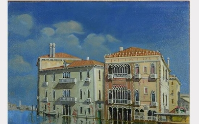 "Lucio Sollazzi ""Le Grand Canal- Venice"" oil on board"