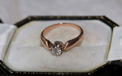 "Maker's sign ""A"" German handcrafted - 14 kt. Pink gold, Platinum - Antique ring ca. 1920 - 0.18 ct Old cut"