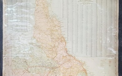 Map of Queensland Pastoral Stations & Districts, on canvas, by H E C Robinson Ltd Sydney