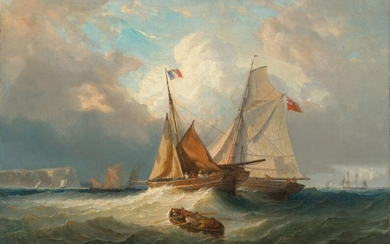 Michel Jean Cazabon (1813-1888), Shipping in a swell off the French coast