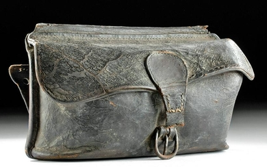 Mid-19th C. American Leather Bag w/ Brass Buckle