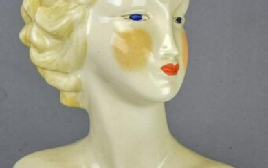 Mid Century Hand Painted Porcelain Nude Bust