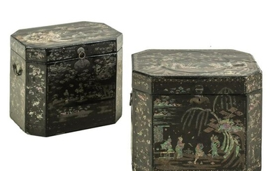 Mother of Pearl Inlaid Antique Lacquer Boxes PAIR