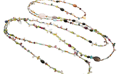 Multi-Stone Necklace The necklace is composed of a variety...
