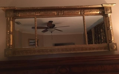 NEOCLASSICAL STYLE COLUMN GOLD TONE MIRROR 61""