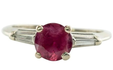 Natural Ruby Tapered Diamond Ring Band 14K Gold Multi